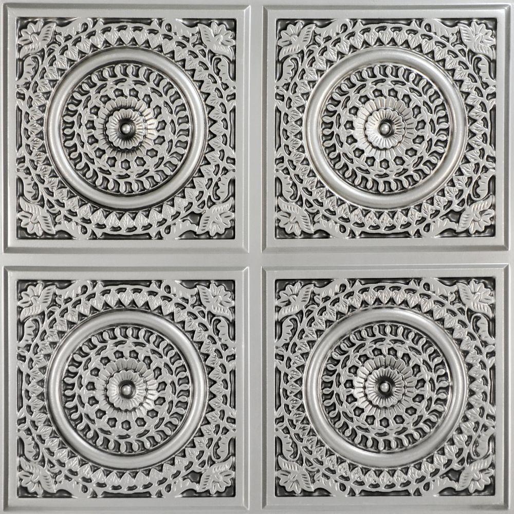 Grandma's Doilies Quartet 2 ft. x 2 ft. PVC Glue-up Ceiling Panel in Antique Silver (100 sq. ft. / case)
