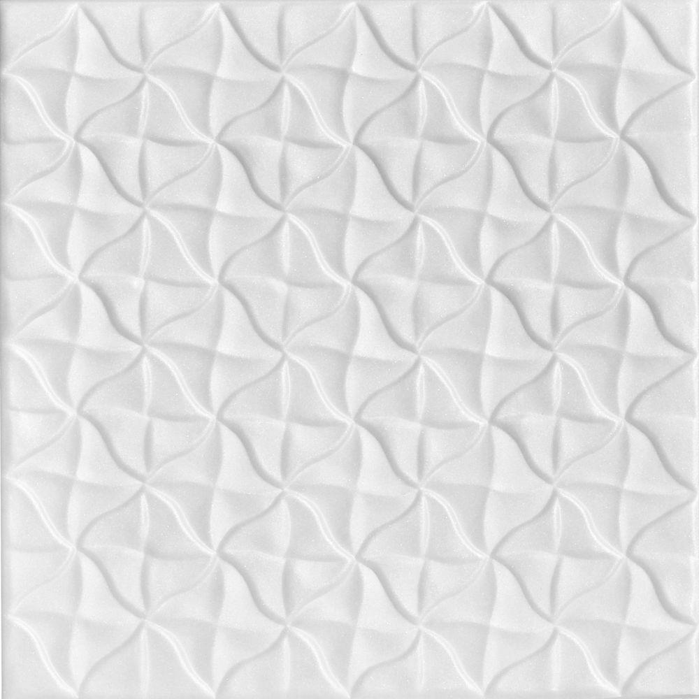 Granny's Pinwheel 1.6 ft. x 1.6 ft. Foam Glue-up Ceiling Tile in Plain White (21.6 sq. ft. / case)