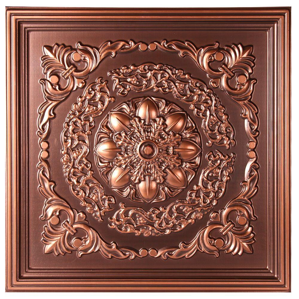 Norwich 2 ft. x 2 ft. Lay-in or Glue-up Ceiling Tile in Antique Copper (48 sq. ft. / case)