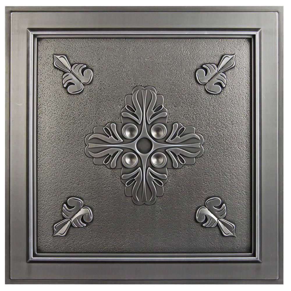 Belfast 2 ft. x 2 ft. Lay-in or Glue-up Ceiling Tile in Antique Nickel (40 sq. ft. / case)