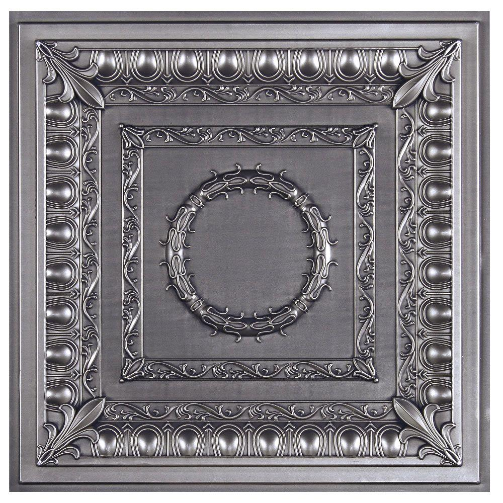 Royal 2 ft. x 2 ft. Lay-in or Glue-up Ceiling Tile in Antique Nickel (40 sq. ft. / case)