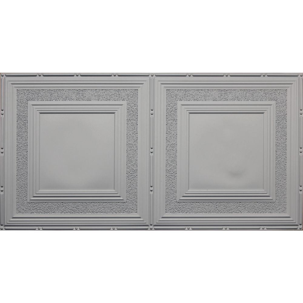 Dimensions Faux 2 ft. x 4 ft. Glue-up Tin Style Surface Mount Ceiling Tile in Nickel