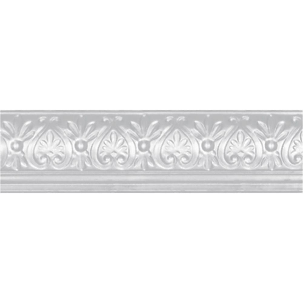 6-5/8 in. x 4 ft. x 6-1/4 in. Powder-Coated White Nail-up/Direct Application Tin Ceiling Cornice (6-Pack)